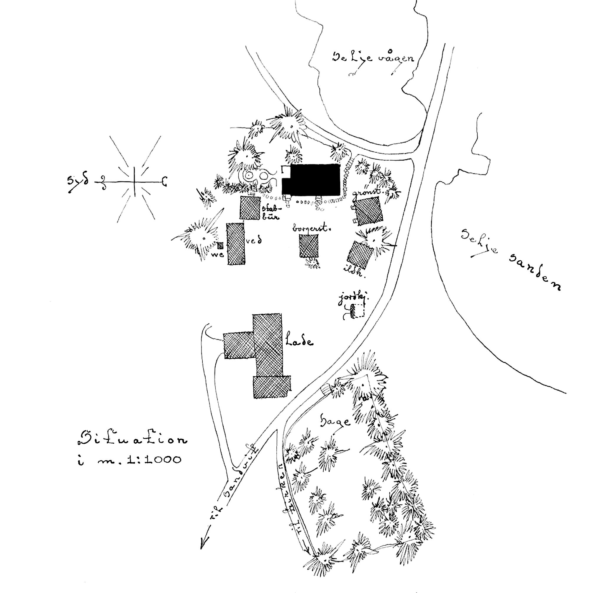 Gammalt kart prestegarden